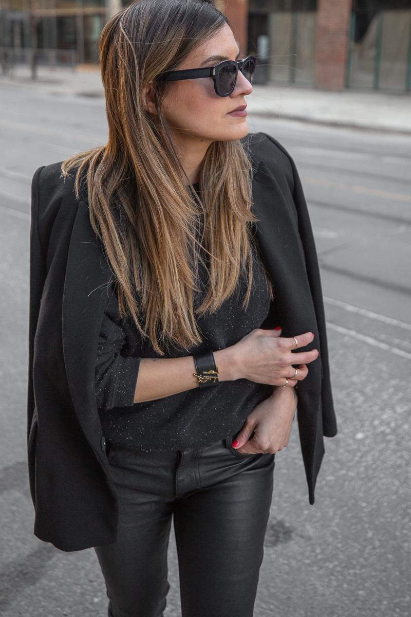 nathalie martin, mackage leather pants, black frank and oak sweatshirt, black oversized blazer, 3.1 phillip lim patent leather boots, Louis Vuitton monogram pocket agenda, Saint Laurent leather bracelet cuff - street style, woahstyle.com_8021.jpg