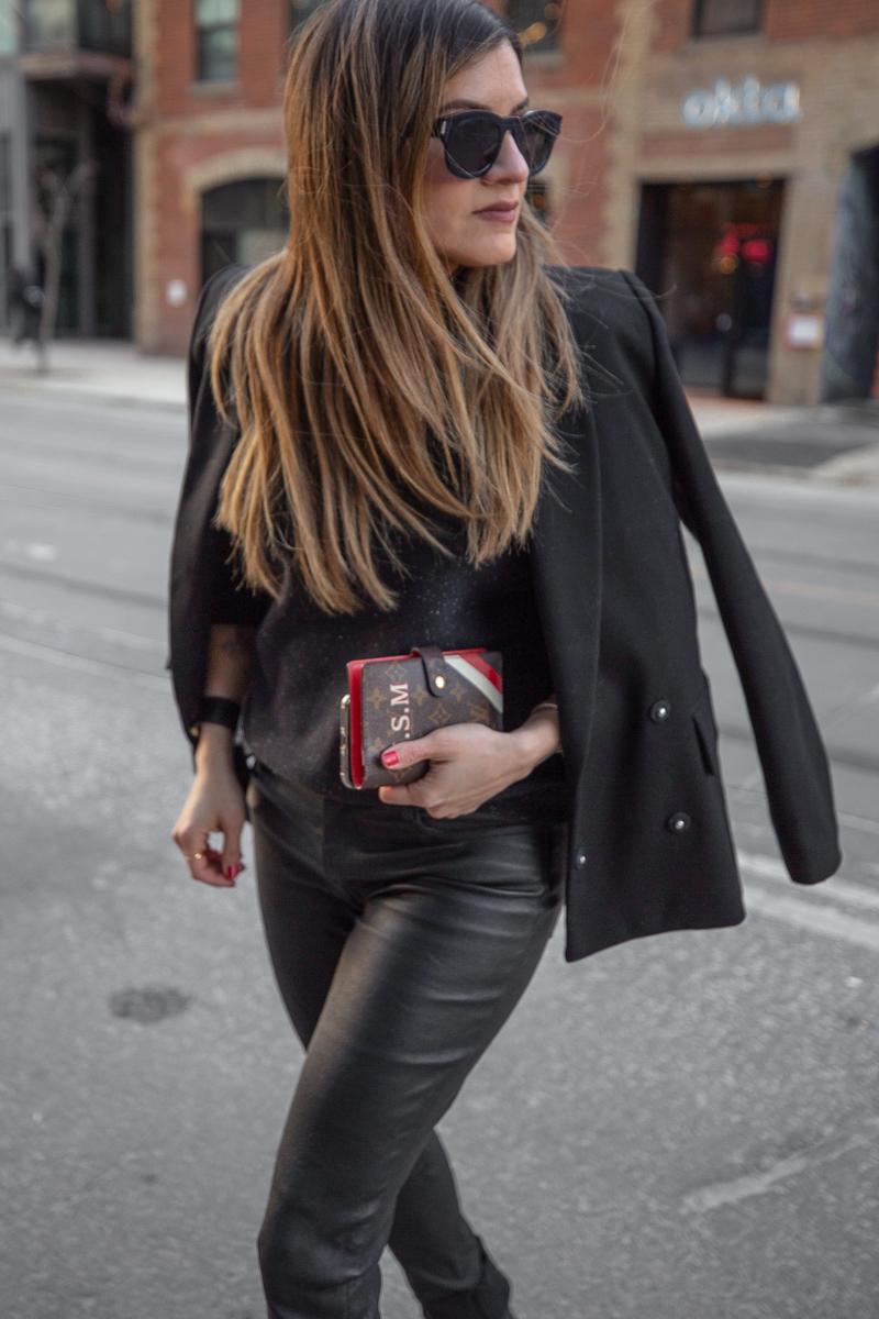 nathalie martin, mackage leather pants, black frank and oak sweatshirt, black oversized blazer, 3.1 phillip lim patent leather boots, Louis Vuitton monogram pocket agenda, Saint Laurent leather bracelet cuff - street style, woahstyle.com_8024.jpg