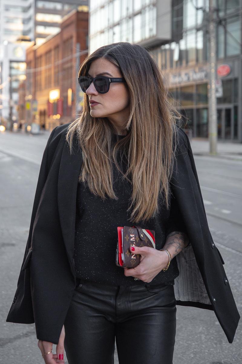 nathalie martin, mackage leather pants, black frank and oak sweatshirt, black oversized blazer, 3.1 phillip lim patent leather boots, Louis Vuitton monogram pocket agenda, Saint Laurent leather bracelet cuff - street style, woahstyle.com_8041.jpg
