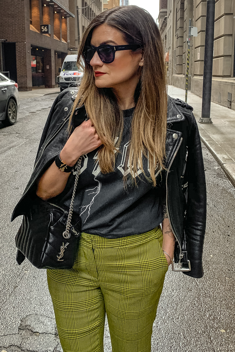 nathalie martin, anine bing bolt tshirt, yellow green robert rodriquez pants, 3.1 phillip lim patent leather boots, saint laurent lou lou bowling bag, the kooples leather moto jacket, YSL leather cuff, edgy street style, woahstyle.com_6065.jpg