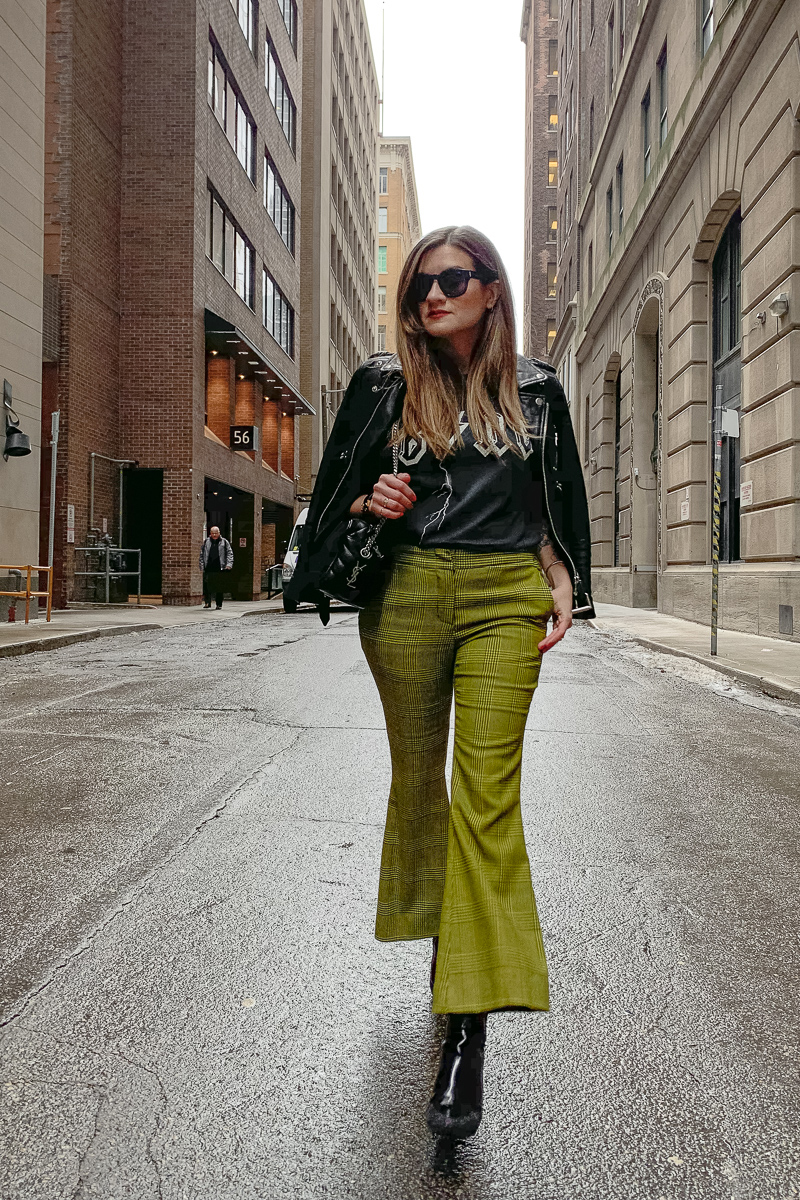 nathalie martin, anine bing bolt tshirt, yellow green robert rodriquez pants, 3.1 phillip lim patent leather boots, saint laurent lou lou bowling bag, the kooples leather moto jacket, YSL leather cuff, edgy street style, woahstyle.com_6034.jpg