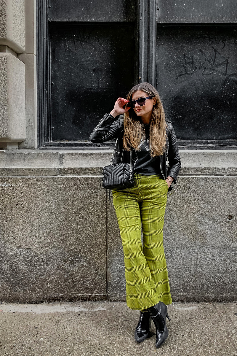 nathalie martin, anine bing bolt tshirt, yellow green robert rodriquez pants, 3.1 phillip lim patent leather boots, saint laurent lou lou bowling bag, the kooples leather moto jacket, YSL leather cuff, edgy street style, woahstyle.com_5991.jpg