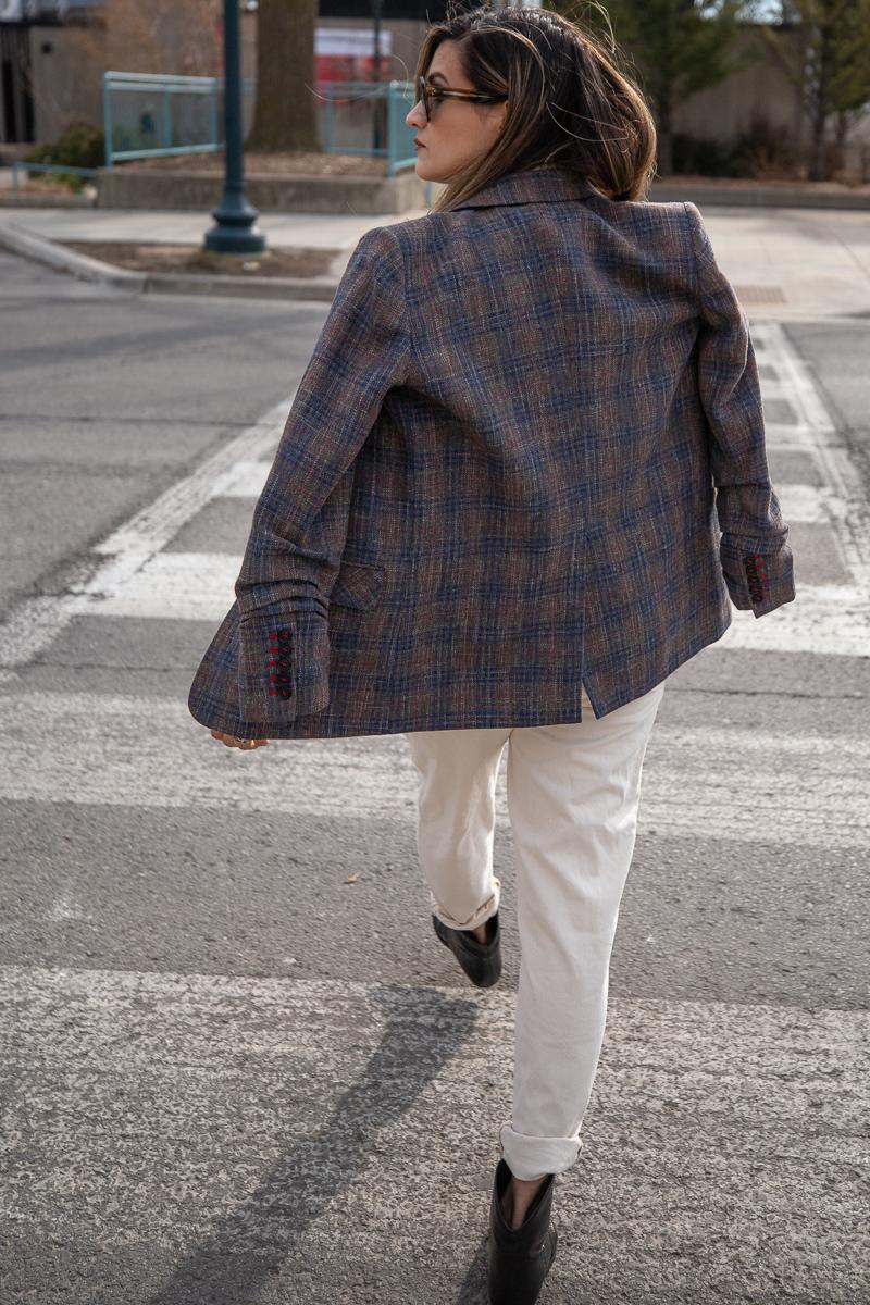 Nathalie Martin, Topshop Jumpsuit, Isabel Marant studded cowboy boots, Veronica Beard brown plaid blazer, Celine sunglasses SS2019, Louis Vuitton 19cm pouch clutch, street style, woahstyle.com_8398.jpg