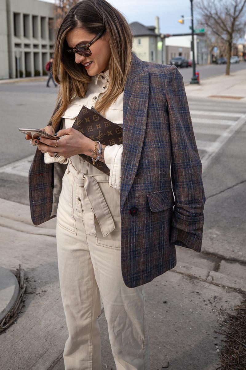 Nathalie Martin, Topshop Jumpsuit, Isabel Marant studded cowboy boots, Veronica Beard brown plaid blazer, Celine sunglasses SS2019, Louis Vuitton 19cm pouch clutch, street style, woahstyle.com_8347.jpg