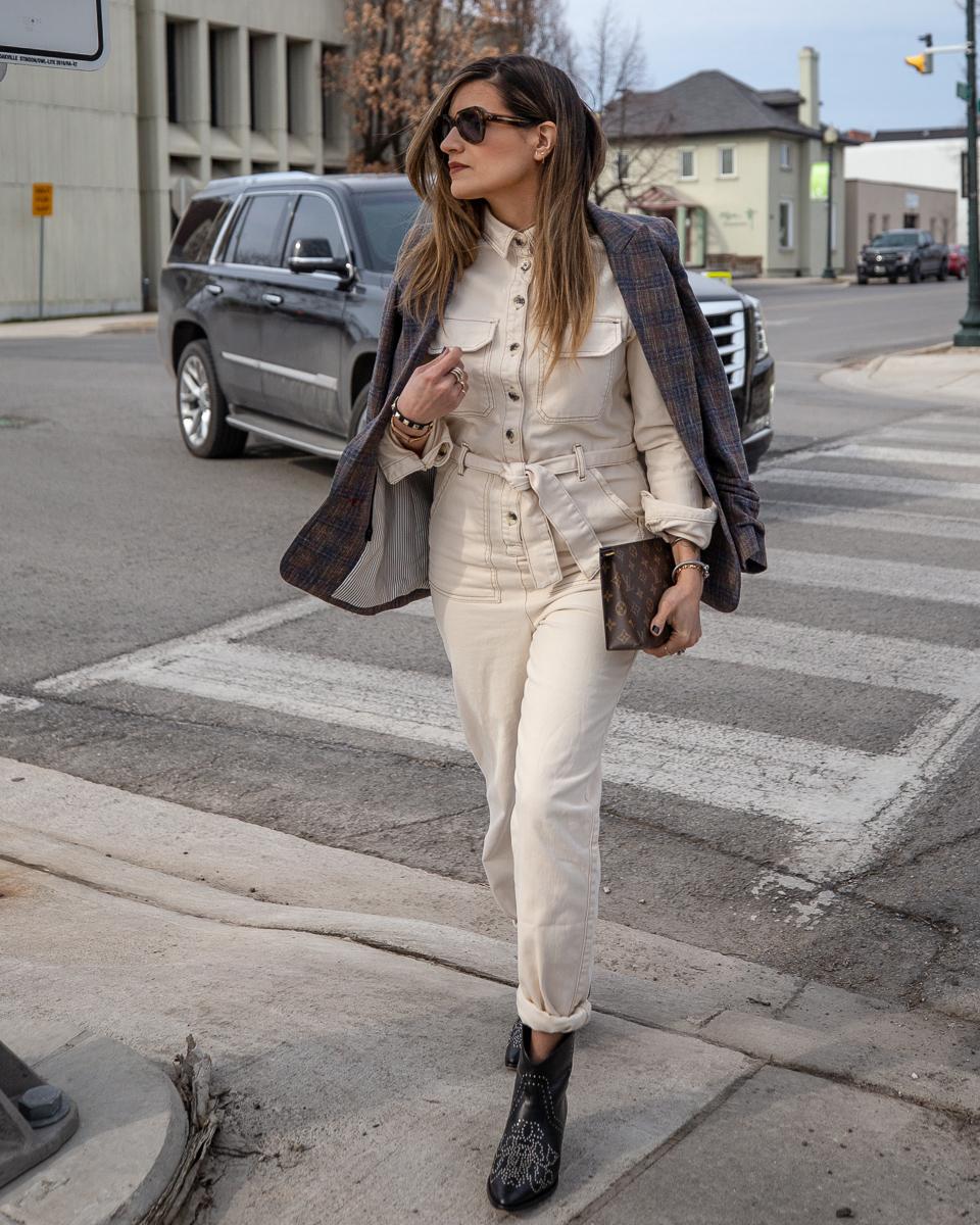 Nathalie Martin, Topshop Jumpsuit, Isabel Marant studded cowboy boots, Veronica Beard brown plaid blazer, Celine sunglasses SS2019, Louis Vuitton 19cm pouch clutch, street style, woahstyle.com_8344.jpg