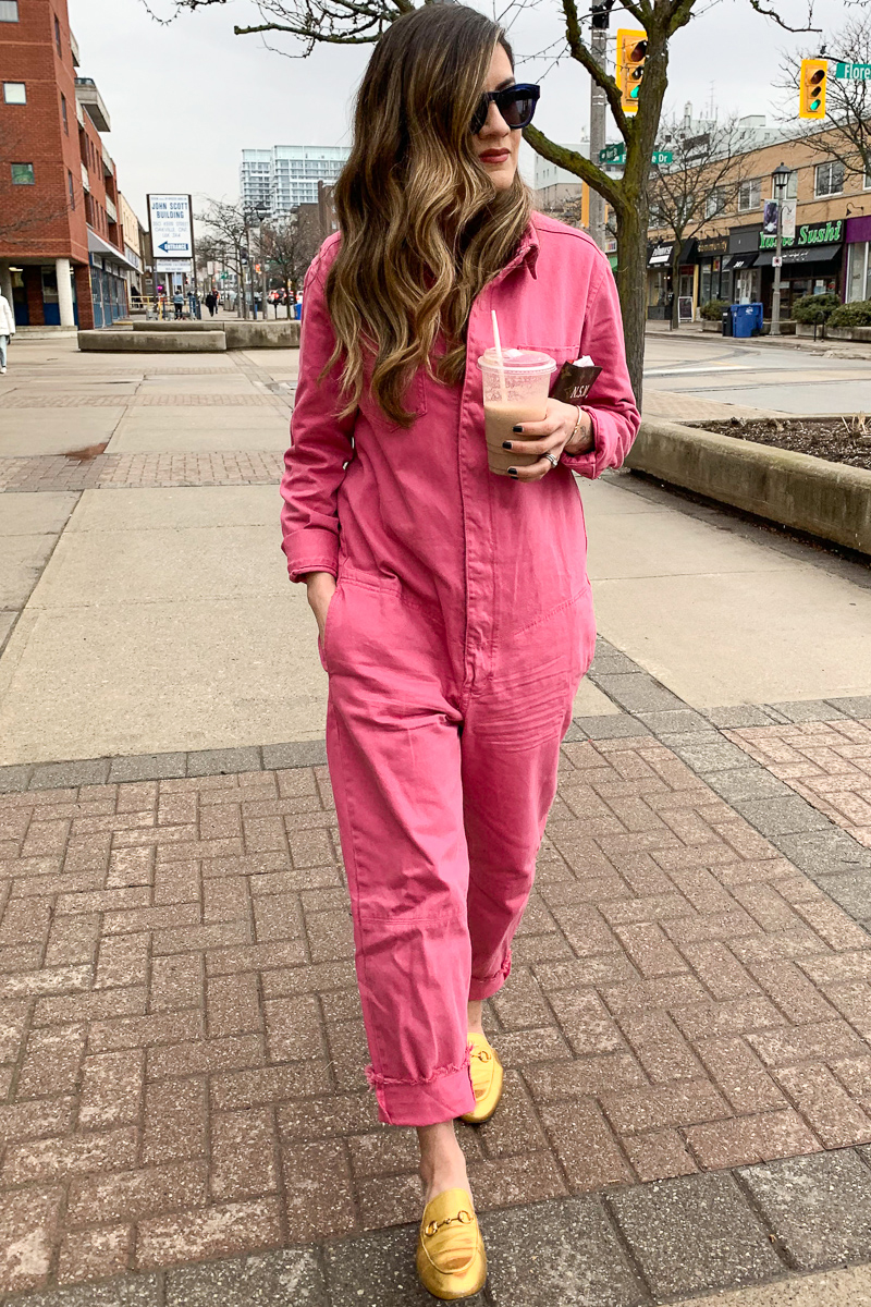 Nathalie Martin, One Teaspoon pink Jumpsuit, gold Gucci Princetown slip-ons SS2019, Louis Vuitton monogram agenda, street style, woahstyle.com_7626-2.jpg