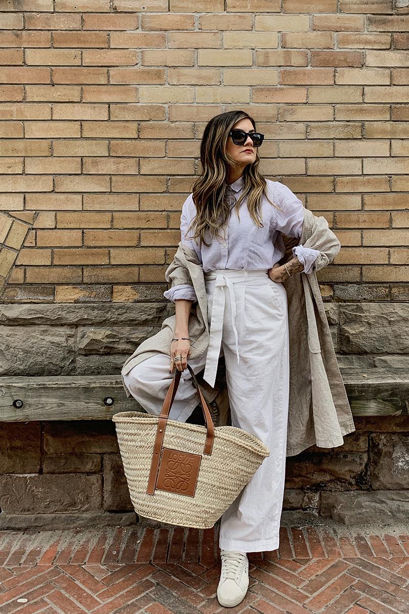 nathalie martin linen pants from uniqlo and loewe basket bag street style.JPG