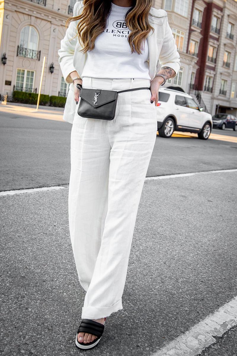 Nathalie Martin, Balenciaga Mode logo t-shirt, Zara white linen women's suit, Cougar Pippy sandal, Saint Laurent belt bag, street style, woahstyle.com_8651.jpg