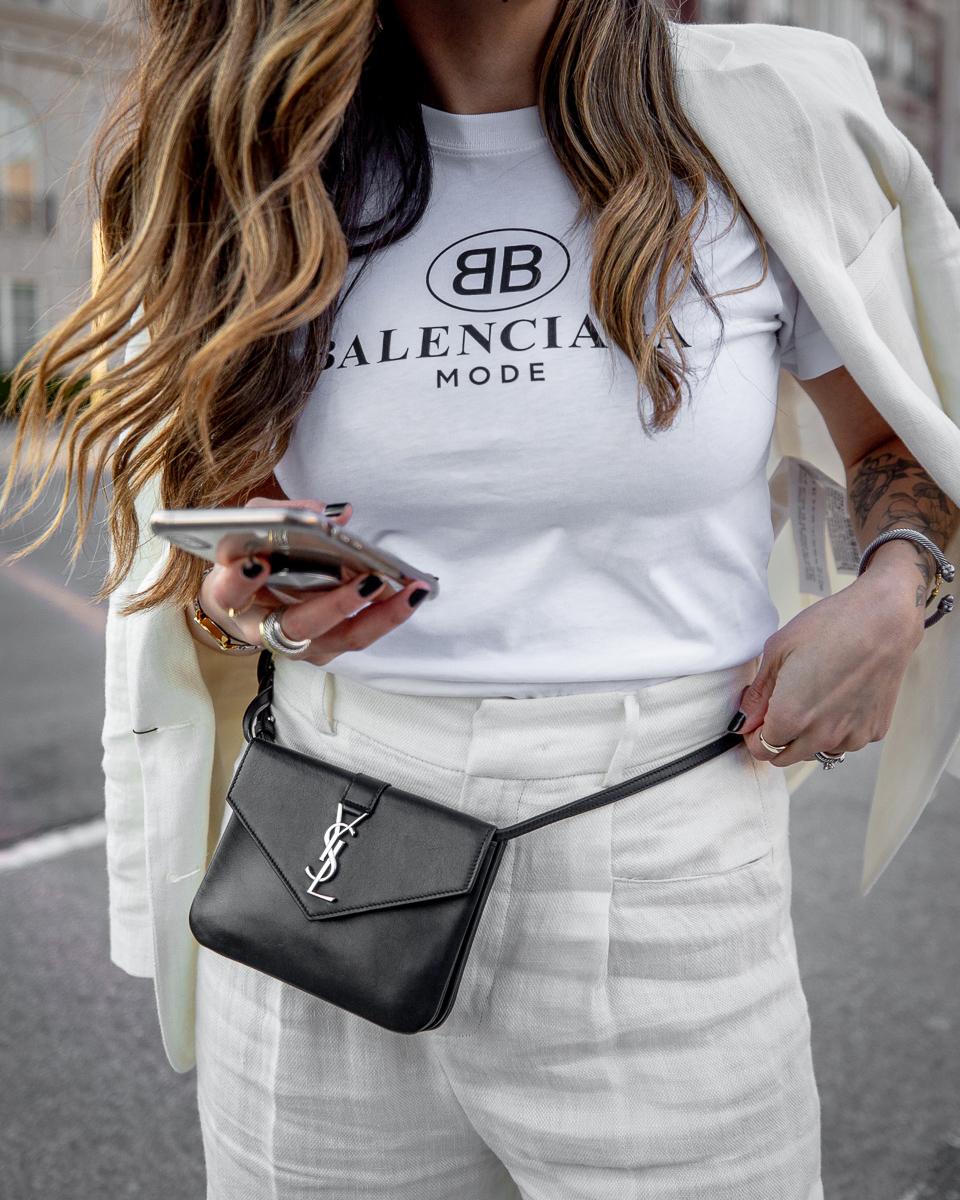 Nathalie Martin, Balenciaga Mode logo t-shirt, Zara white linen women's suit, Cougar Pippy sandal, Saint Laurent belt bag, street style, woahstyle.com_8704.jpg