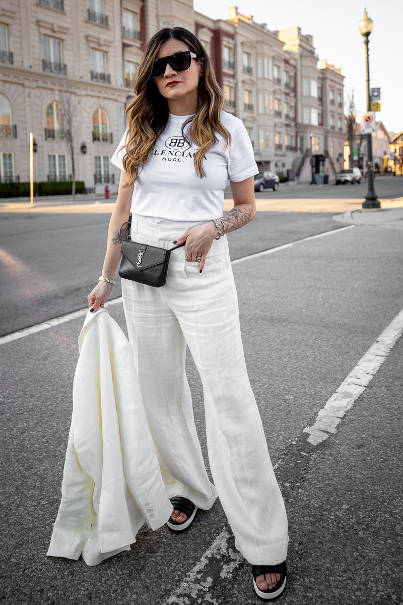 Nathalie Martin, Balenciaga Mode logo t-shirt, Zara white linen women's suit, Cougar Pippy sandal, Saint Laurent belt bag, street style, woahstyle.com_8676.jpg
