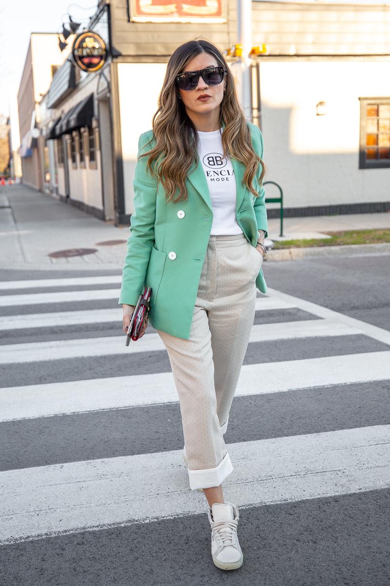 Nathalie Martin, Balenciaga Mode logo t-shirt, Sandro green blazer, beige pants with wide cuff, street style, woahstyle.com_8464.jpg