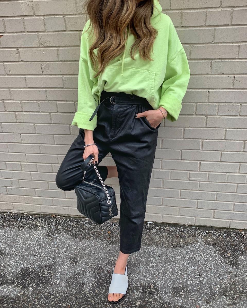 nathalie martin - neon acne studios hoodie, leather trousers, white sandals, saint laurent bag, street style ss19.jpg