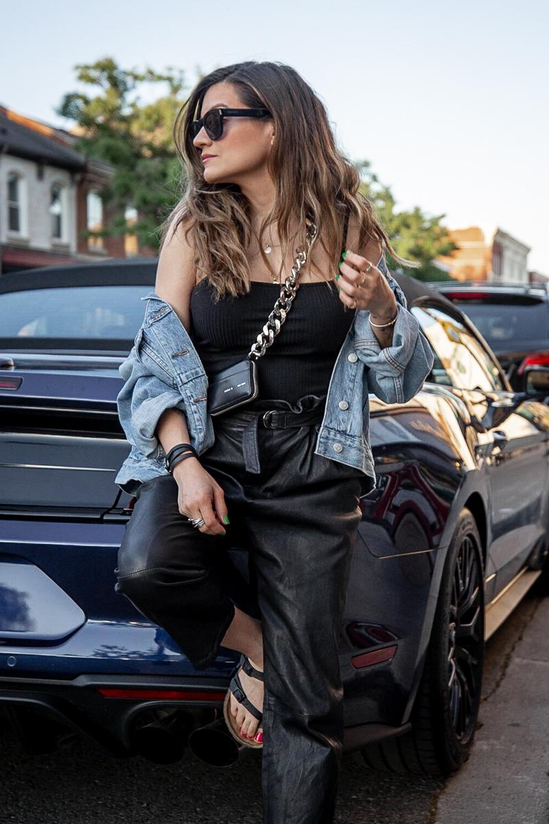 nathalie martin - Kara Biker Wallet on a chain, leather pants, madewell oversized denim jacket, black bodysuit, birkenstocks, street style, woahstyle.com_0166.jpg