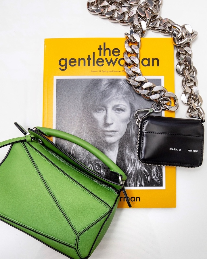 nathalie martin - kara biker chain wallet bag, green mini loewe bag, woahstyle.com.jpg