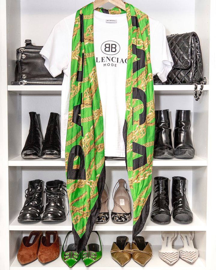 Nathalie Martin, Balenciaga logo tshirt and green silk chain scarf - woahstyle.com.jpg