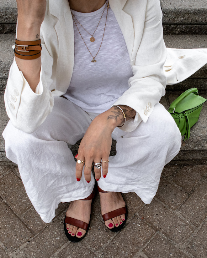 nathalie martin, white line suit, loewe mini green puzzle bag, david yurman rings, gold layered necklaces, street style, summer, woahstyle.com_1160-2.jpg