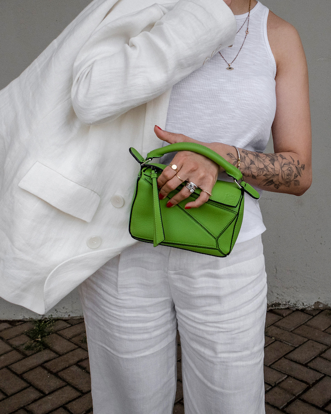 nathalie martin, white line suit, loewe mini green puzzle bag, david yurman rings, gold layered necklaces, street style, summer, woahstyle.com_1216-2.jpg