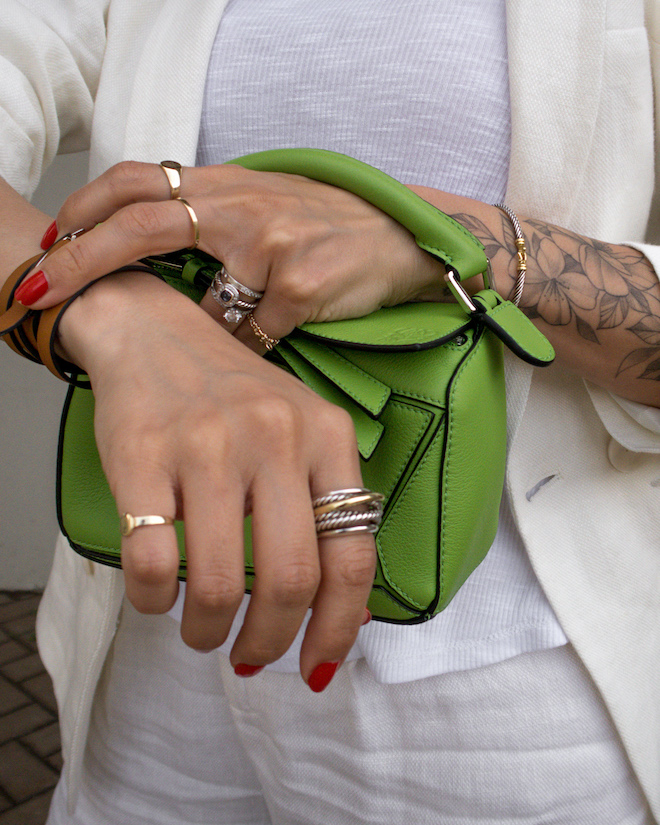 nathalie martin, white line suit, loewe mini green puzzle bag, david yurman rings, gold layered necklaces, street style, summer, woahstyle.com_1221-2.jpg