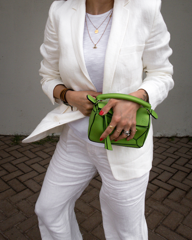 nathalie martin, white line suit, loewe mini green puzzle bag, david yurman rings, gold layered necklaces, street style, summer, woahstyle.com_1234-2.jpg