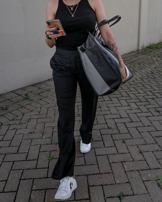 nathalie martin, all black outfit ideas to try, white sneakers, black tank, wool stella mccartney pants, balenciaga Black & Grey Medium Bazar Shopper Tote, street style, woahstyle.com_1334.jpg