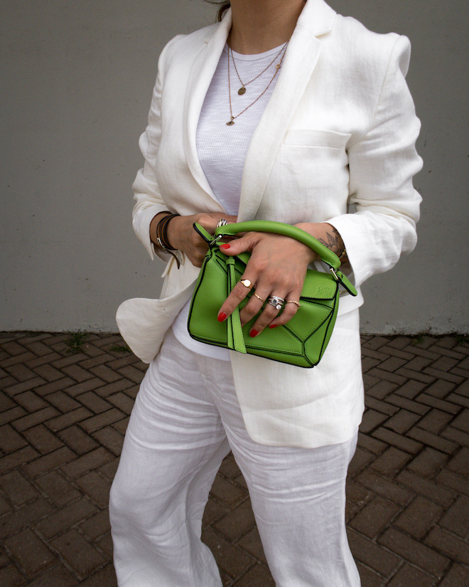nathalie martin, white line suit, loewe mini green puzzle bag, david yurman rings, gold layered necklaces, street style, summer, woahstyle.com_1235.jpg