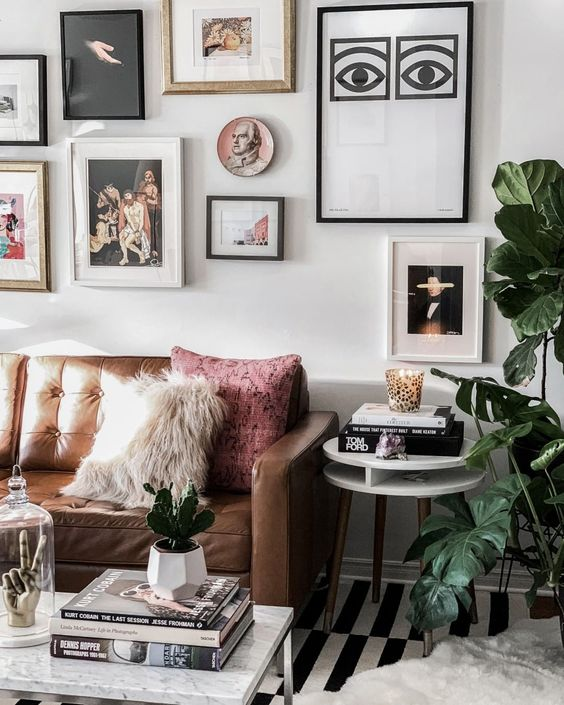 Instagram @_nathaliemartin - gallery wall, home, brown leather couch, olle eskell eye print, woahstyle.com.jpg