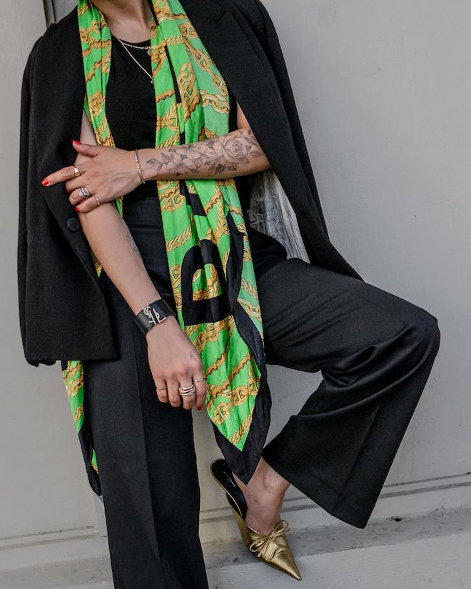 nathalie martin, fall trends 2019, balenciaga silk scarf, bronze knife mules, stella mccartney wool pants, oversized black blazer, street style, woahstyle.com_1483.jpg