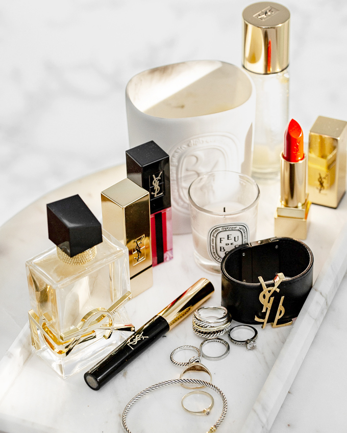 YSL Beauty LIBRE fragrance perfume, lavender, orange blossom scent, YSL leather cuff bracelet, david yurman cable bracelet, ring, diptyque candle, marble tray, beauty blog, woahstyle.com_2127.jpg