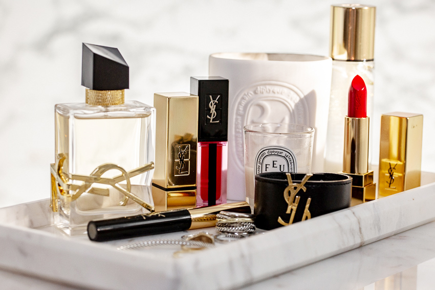 YSL Beauty LIBRE fragrance perfume, lavender, orange blossom scent, YSL leather cuff bracelet, david yurman cable bracelet, ring, diptyque candle, marble tray, beauty blog, woahstyle.com_2128.jpg