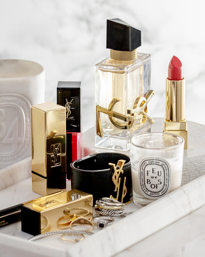 YSL Beauty LIBRE fragrance perfume, lavender, orange blossom scent, YSL leather cuff bracelet, david yurman cable bracelet, ring, diptyque candle, marble tray, beauty blog, woahstyle.com_2165.jpg