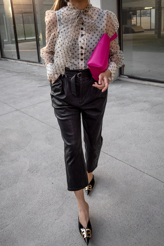 zara polka pot sheer blouse with bow, leather trousers, patent leather balenciaga BB mules, pink xxs everyday balenaciaga tote bag, 2019 summer style, nathalie martin, woahstyle.com_1932.jpg
