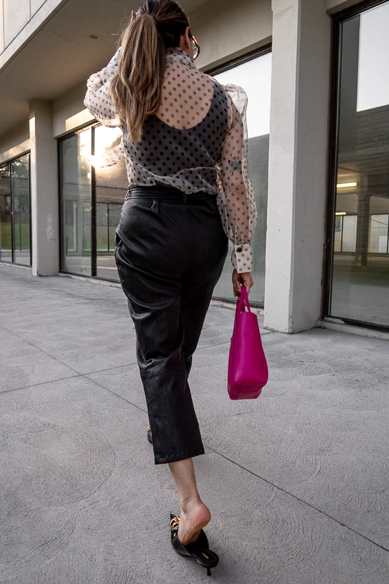 zara polka pot sheer blouse with bow, leather trousers, patent leather balenciaga BB mules, pink xxs everyday balenaciaga tote bag, 2019 summer style, nathalie martin, woahstyle.com_1960.jpg