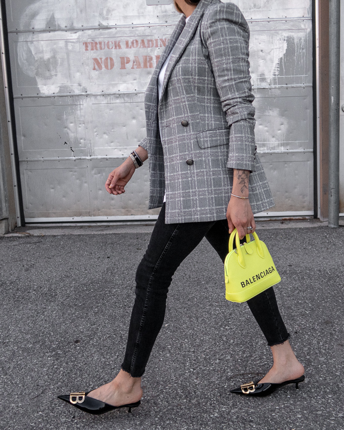 nathalie martin, grey plaid blazer, neon yellow balenciaga xxs ville top handle bag, green satin balenciaga bb mules, street style 2019, woahstyle.com_2378.jpg