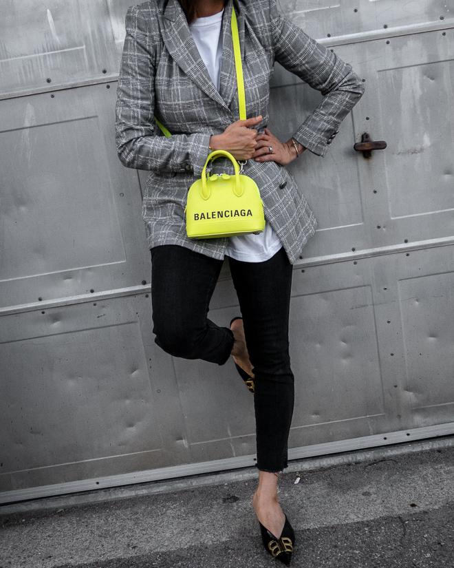 nathalie martin, grey plaid blazer, neon yellow balenciaga xxs ville top handle bag, green satin balenciaga bb mules, street style 2019, woahstyle.com_2226.jpg
