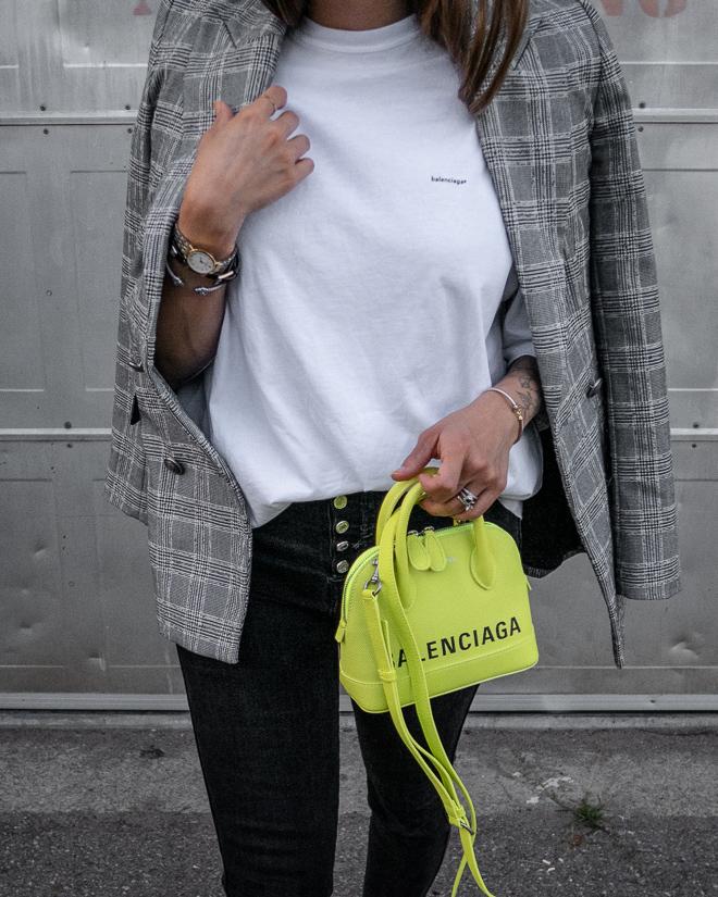 nathalie martin, grey plaid blazer, neon yellow balenciaga xxs ville top handle bag, green satin balenciaga bb mules, street style 2019, woahstyle.com_2296.jpg