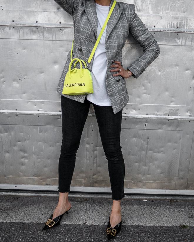 nathalie martin, grey plaid blazer, neon yellow balenciaga xxs ville top handle bag, green satin balenciaga bb mules, street style 2019, woahstyle.com_2328.jpg