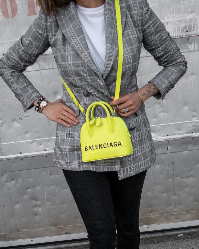 nathalie martin, grey plaid blazer, neon yellow balenciaga xxs ville top handle bag, green satin balenciaga bb mules, street style 2019, woahstyle.com_2359.jpg
