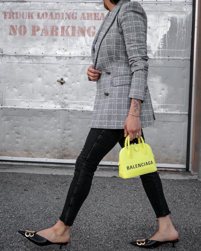 nathalie martin, grey plaid blazer, neon yellow balenciaga xxs ville top handle bag, green satin balenciaga bb mules, street style 2019, woahstyle.com_2385.jpg