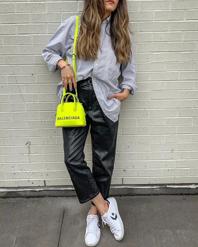 nathalie martin, balenciaga neon yellow ville top handle xxs bag, white converse one star sneakers, leather trousers, striped balenciaga back logo thsirt, streetstyle, woahstyle.com_4961.jpg