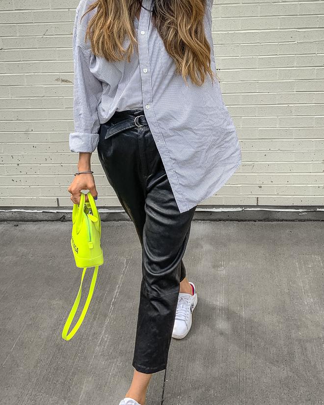 nathalie martin, balenciaga neon yellow ville top handle xxs bag, white converse one star sneakers, leather trousers, striped balenciaga back logo thsirt, streetstyle, woahstyle.com_4969.jpg