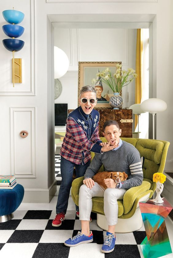 Jonathan Adler and Simon Doonan Greenwich Village Home Makeover,  Dora Maar Muse lamp, checked black and white floor, eclectic home decor, interior style, designer, woahstyle.com.jpg