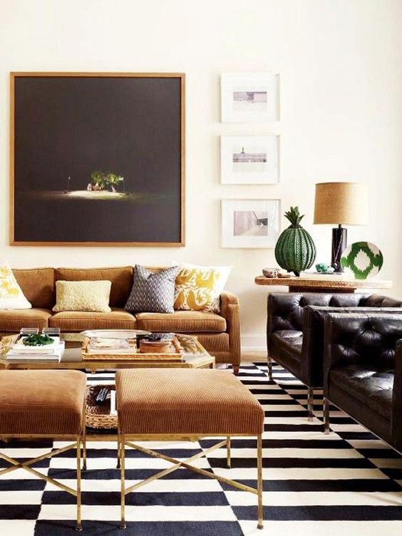 Nate Berkus home, brown sofa couch, black and white striped rug, home decor, interior design.jpg
