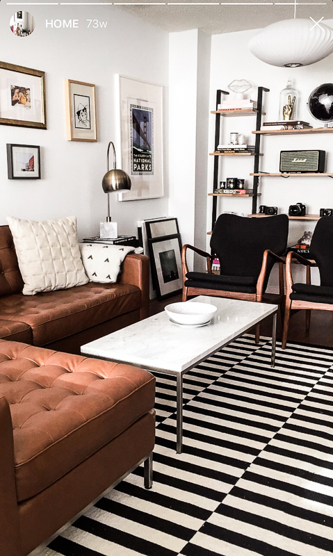 nathalie martin, midcentury modern inspired electic home decor, interior design, LA aesthetic, inspired by Ludlow Hotel New York NYC, Olle Eskell, EQ3 Revier brown leeather softa couch, Herman Miller bubble lamp, woahstyle.com_5421.jpg