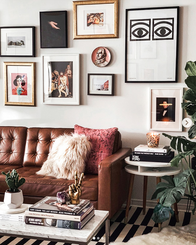 nathalie martin, midcentury modern inspired electic home decor, interior design, LA aesthetic, inspired by Ludlow Hotel New York NYC, Olle Eskell, EQ3 Revier brown leeather softa couch, Herman Miller bubble lamp, woahstyle.com.jpg