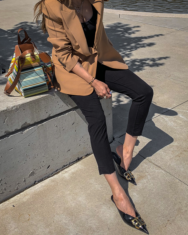 nathalie martin, fall trends 2019, camel neutrals, zara oversized blazer, mens inspired, tailored, balenciaga black patent leather bb mules kitten heels, loewe striped small hammock bag, gold and silver jewelry streetstyle, woahstyle.com_.jpg