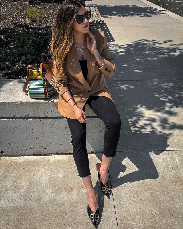 nathalie martin, fall trends 2019, camel neutrals, zara oversized blazer, mens inspired, tailored, balenciaga black patent leather bb mules kitten heels, loewe striped small hammock bag, gold and silver jewelry streetstyle, woahstyle.com_5345.jpg