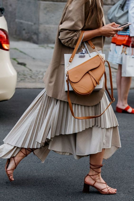 Fall Trends 2019, Neutral Colors. oversized blazer,  pleated skirt, Dior tan leather saddle bag, brown strappy leather sandals, woahstyle.com, street style inspiration.jpg