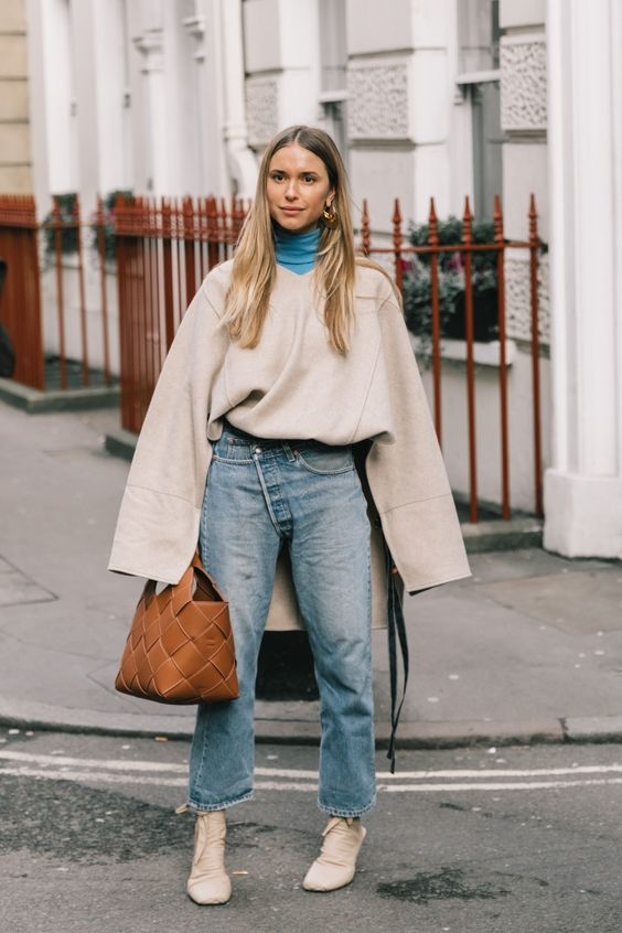 Fall Trends 2019, Neutral Colors, pernille teisbaek, oversized sweater, brown leather Loewe woven leather basket bag, woahstyle.com, street style inspiration.jpg