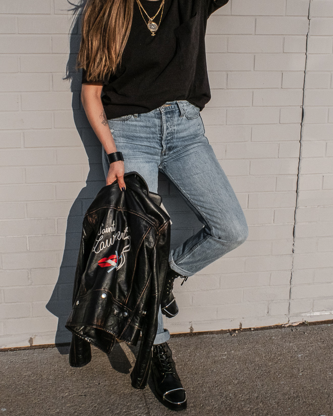 nathalie martin, saint laurent no smoking leather jacket back logo, grlfd denim karolina jeans, alexandeer wang black kennah boots, floral tattoo, ysl libre, _2928.jpg