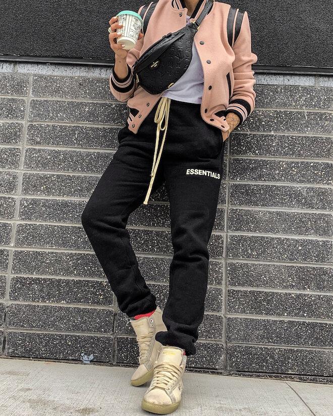 Instagram @_NathalieMartin - casual outfit ideas, Essentials black jogger sweatpants, jogging pants, Saint Laurent white canvas high top shoes, pink Saint Laurent Teddy jacket, Louis Vuitton Empreinte Bumbag, woahstyle.com_6536.JPG